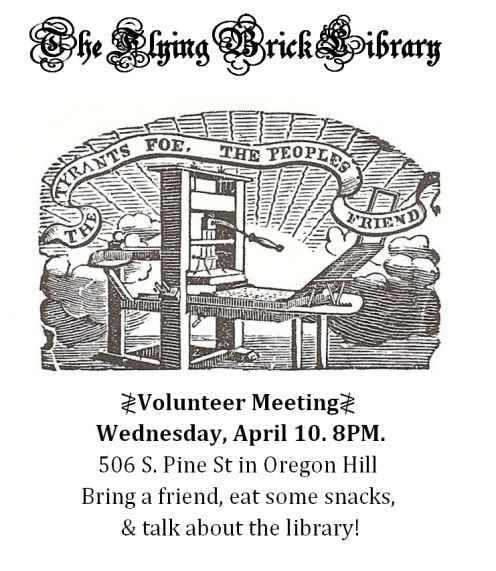 Volunteer Meeting April 10 8PM
